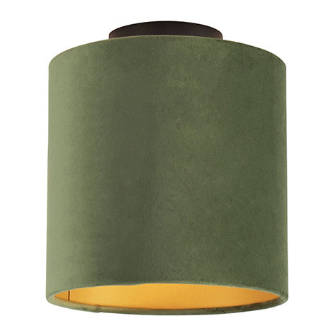 Ceiling Lamp with 20cm Velvet Green Shade - Combi Black