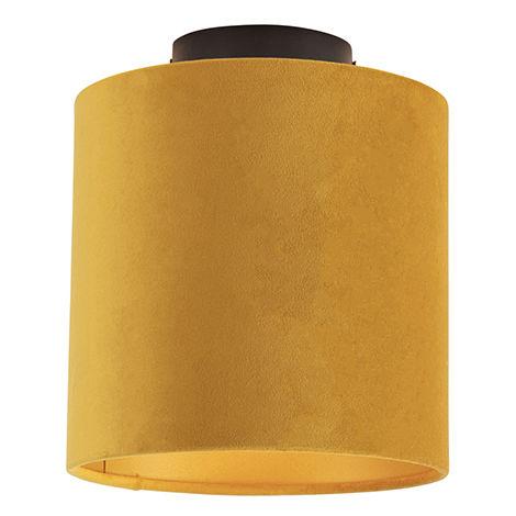 Ceiling Lamp with 20cm Velvet Ochre Shade - Combi Black