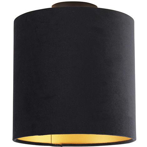 Ceiling Lamp with 25cm Velvet Black Shade - Combi Black