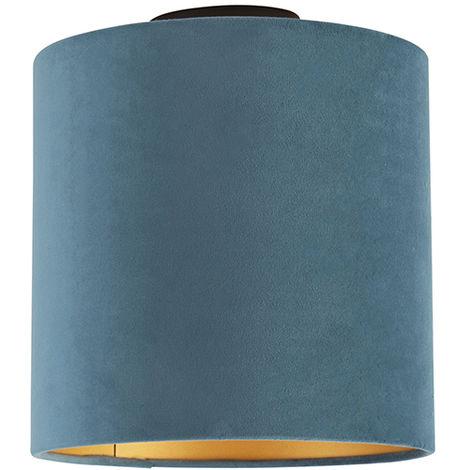 Ceiling Lamp with 25cm Velvet Blue Shade - Combi Black
