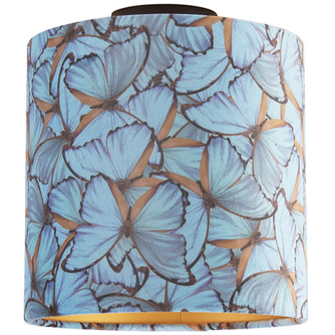 Ceiling Lamp with 25cm Velvet Butterfly Shade - Combi Black