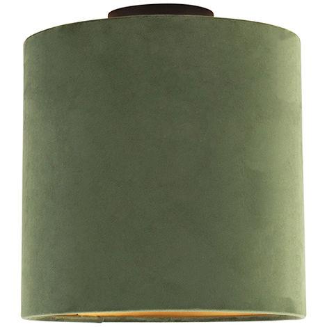 Ceiling Lamp with 25cm Velvet Green Shade - Combi Black