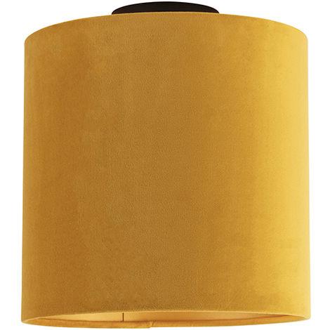 Ceiling Lamp with 25cm Velvet Ochre Shade - Combi Black