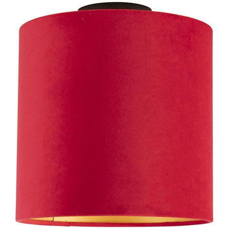 Ceiling Lamp with 25cm Velvet Red Shade - Combi Black