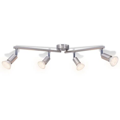 Ceiling Lamp with 4 LED Spotlights Satin Nickel