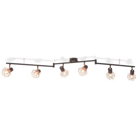 Ceiling Lamp with 6 Spotlights E14 Black and Copper