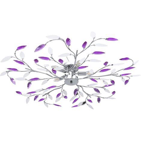 Ceiling Lamp with Acrylic Crystal Leaf Arms for 5 E14 Bulbs Purple