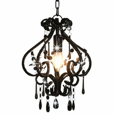 Ceiling Lamp with Beads Black Round E14