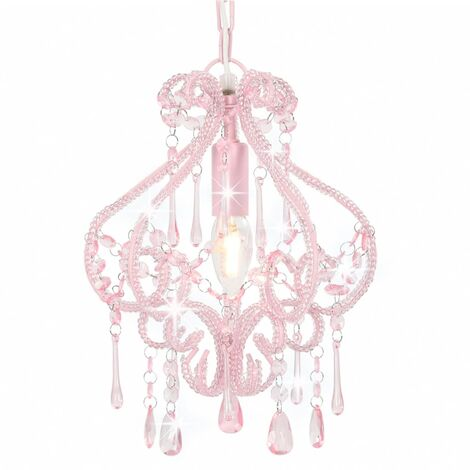 Ceiling Lamp with Beads Pink Round E14