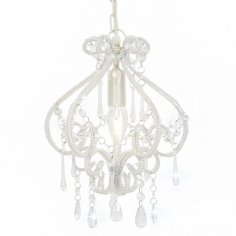 Ceiling Lamp with Beads White Round E14