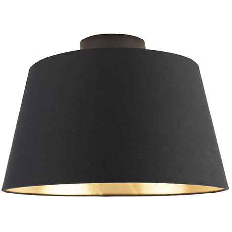 Ceiling lamp with cotton shade black with gold 32 cm - Combi black