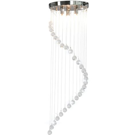 Ceiling Lamp with Crystal Beads Silver Spiral G9