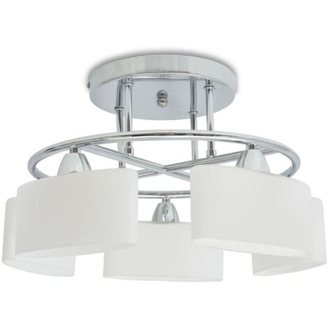 Ceiling Lamp with Ellipsoid Glass Shades for 5 E14 Bulbs 200 W