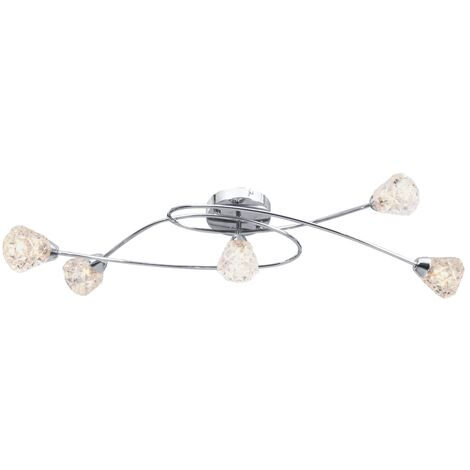 Ceiling Lamp with Glass Lattice Shades for 5 G9 Bulbs