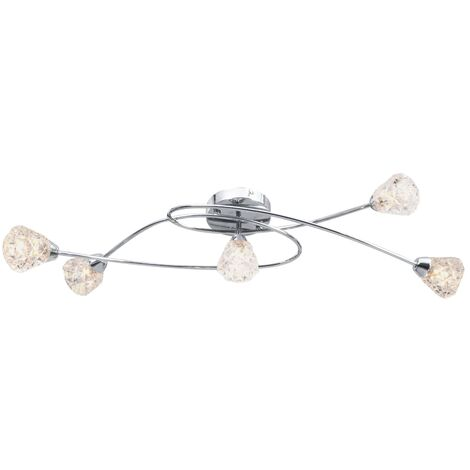 Ceiling Lamp with Glass Lattice Shades for 5 G9 Bulbs - Transparent