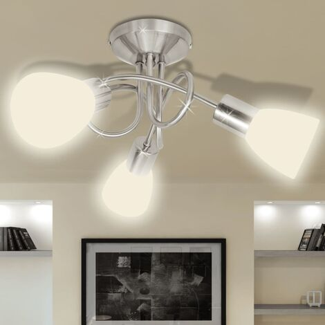 Ceiling Lamp with Glass Shades for 3 E14 Bulbs