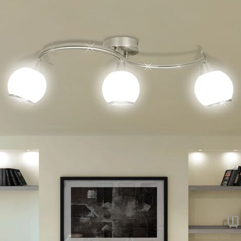 """main image of """"vidaXL Ceiling Lamp with Glass Shades on Waving Rail Home Interior Lighting Fixture Chandelier Ceiling Pendant Light for 3/5 E14 Bulb"""""""