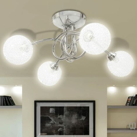 Ceiling Lamp with Mesh Wire Shades for 4 G9 Bulbs - Transparent