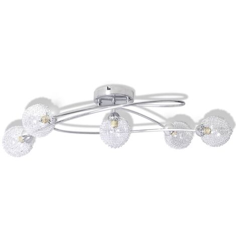 Ceiling Lamp with Mesh Wire Shades for 5 G9 Bulbs - Transparent