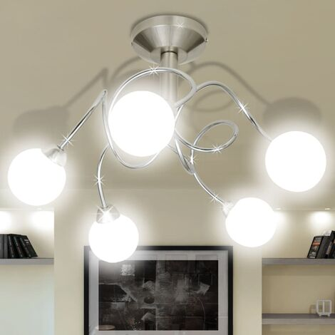 Ceiling Lamp with Round Glass Shades for 5 G9 Bulbs