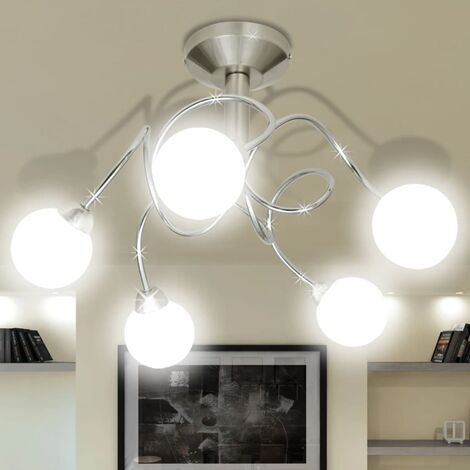 Ceiling Lamp with Round Glass Shades for 5 G9 Bulbs - White
