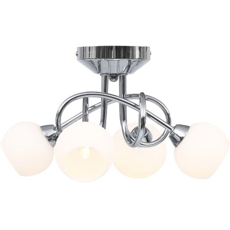 Ceiling Lamp with Round White Ceramic Shades for 4 G9 Bulbs - White