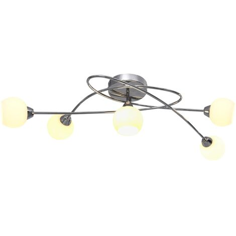 Ceiling Lamp with Round White Ceramic Shades for 5 G9 Bulbs