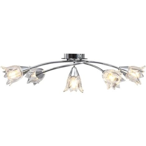 Ceiling Lamp with Transparent Glass Shades for 5 E14 Bulbs Tulip