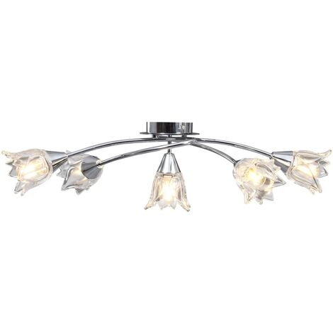 Ceiling Lamp with Transparent Glass Shades for 5 E14 Bulbs Tulip - Transparent