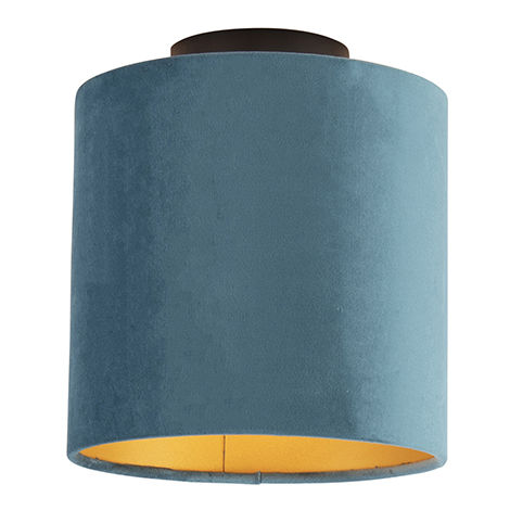 Ceiling lamp with velor shade blue with gold 20 cm - Combi black
