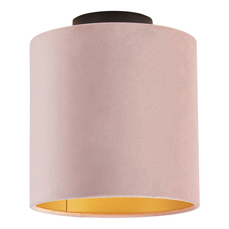 Ceiling lamp with velor shade old pink with gold 20 cm - Combi black