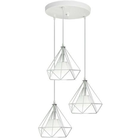 Ceiling Lamp,Retro 20cm Cage Pendant Lamp Creative Diamond Shape Pendant Light White Nordic Chandelier 3 Lights Vintage Ceiling Light
