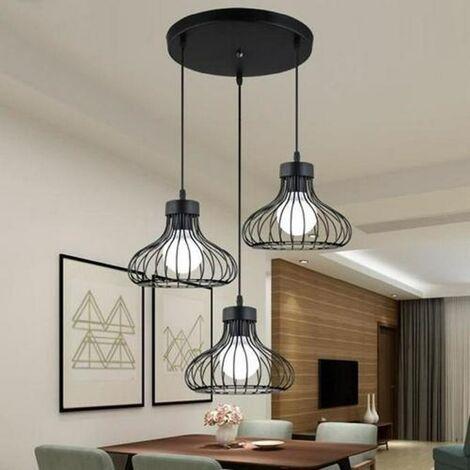 Ceiling Lamp,Set of 3 black metal cage chandeliers - retro industrial style chandelier