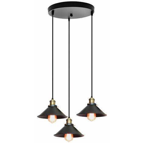 Ceiling Light 3 Lights Industrial 22cm Adjustable Pendant Light Retro Creative Chandelier for Living Room Dining Room Bar Balcony Black