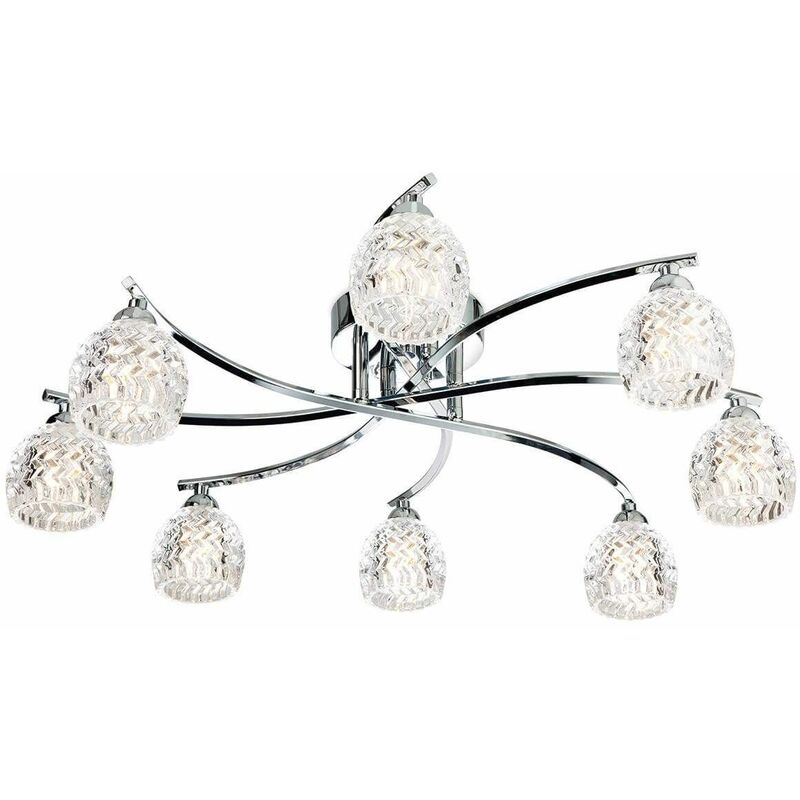 Image of Ceiling light 8 bulbs Maple, chrome and glass
