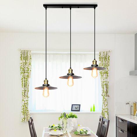 Ceiling Light E27 Vintage Metal Chandelier Black Retro Ceiling Lamp 3 Lights Industrial Light Fixtures for Kitchen Bedroom Hallway Loft