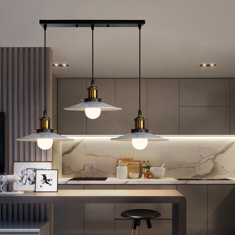 Ceiling Light E27 Vintage Metal Chandelier White Retro Ceiling Lamp 3 Lights Industrial Light Fixtures for Kitchen Bedroom Hallway Loft