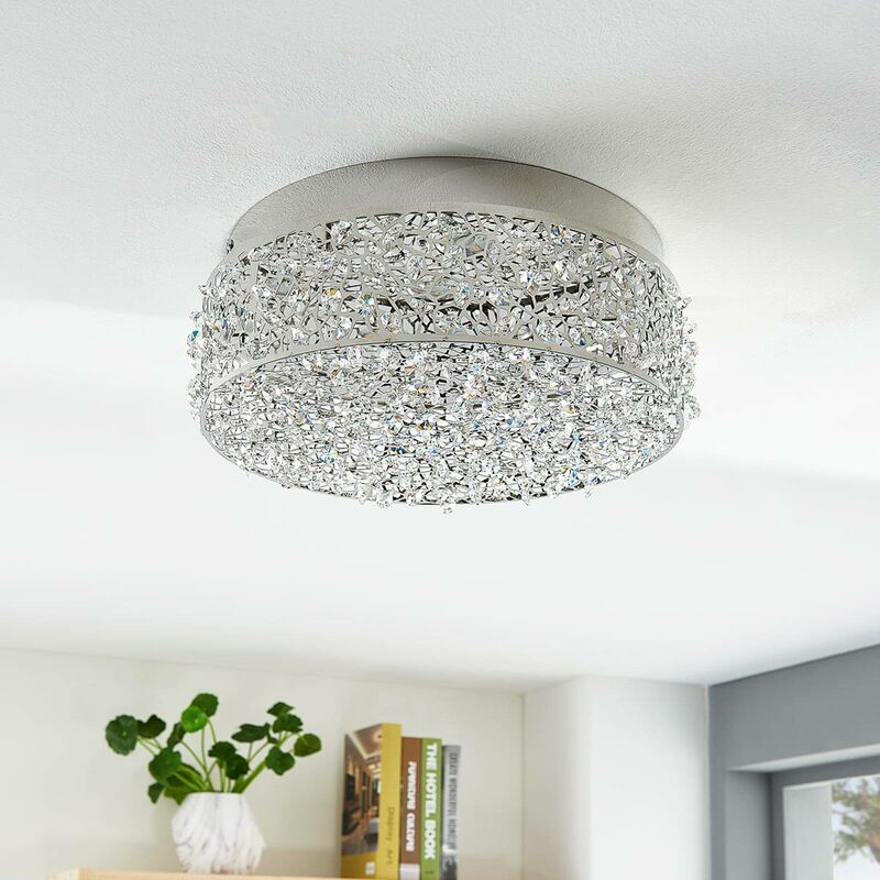 Image of LED Ceiling Light 'Felias' (modern) in Silver made of Metal for e.g. Bedroom (1 light source, A+) from Lucande | ceiling lamp, lamp