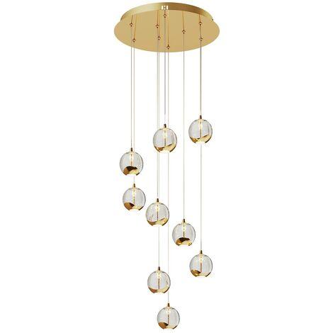 Ceiling Light 'Hayley' (design) in Gold made of Metal (9 light sources, A+) from Lucande | pendant lighting, lamp, hanging lamp, lamp, ceiling lamp, hanging light