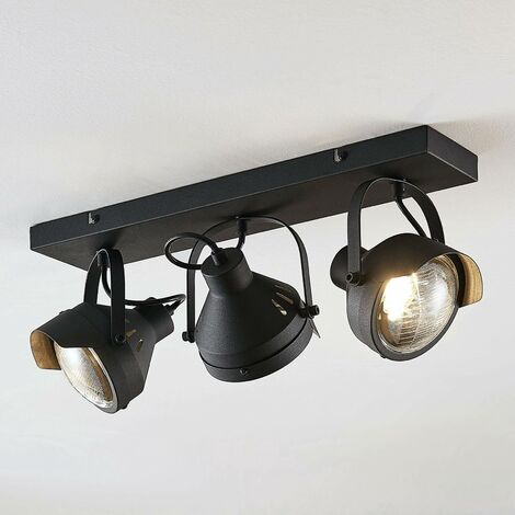 Ceiling Light 'Henega' dimmable (industrial design) in Black made of Metal (3 light sources, GU10, A++) from Lindby | floodlight, spotlight