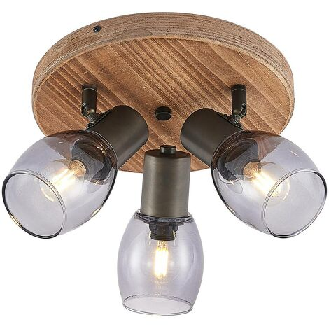 Ceiling Light 'Ineska' dimmable (scandinavian) in Brown made of Wood (3 light sources, E14, A++) from Lindby | floodlight, spotlight