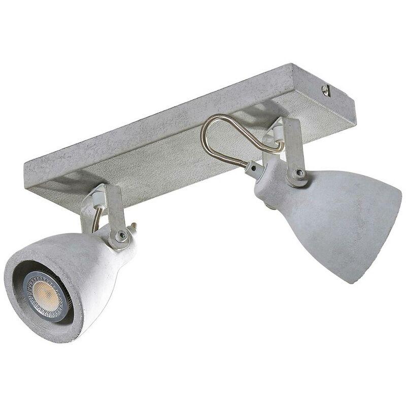 Image of 2-bulb Kadiga LED spotlight made of concrete, GU10 - LAMPENWELT
