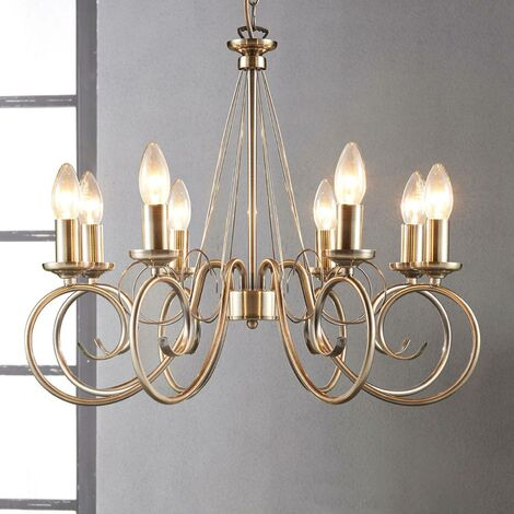 Ceiling Light 'Marnia' dimmable (antique, vintage) in Bronze made of Metal (8 light sources, E14, A++) from Lindby   chandeliers, lighting, Lamp, pendant light, hanging lamp, lamp, ceiling lamp