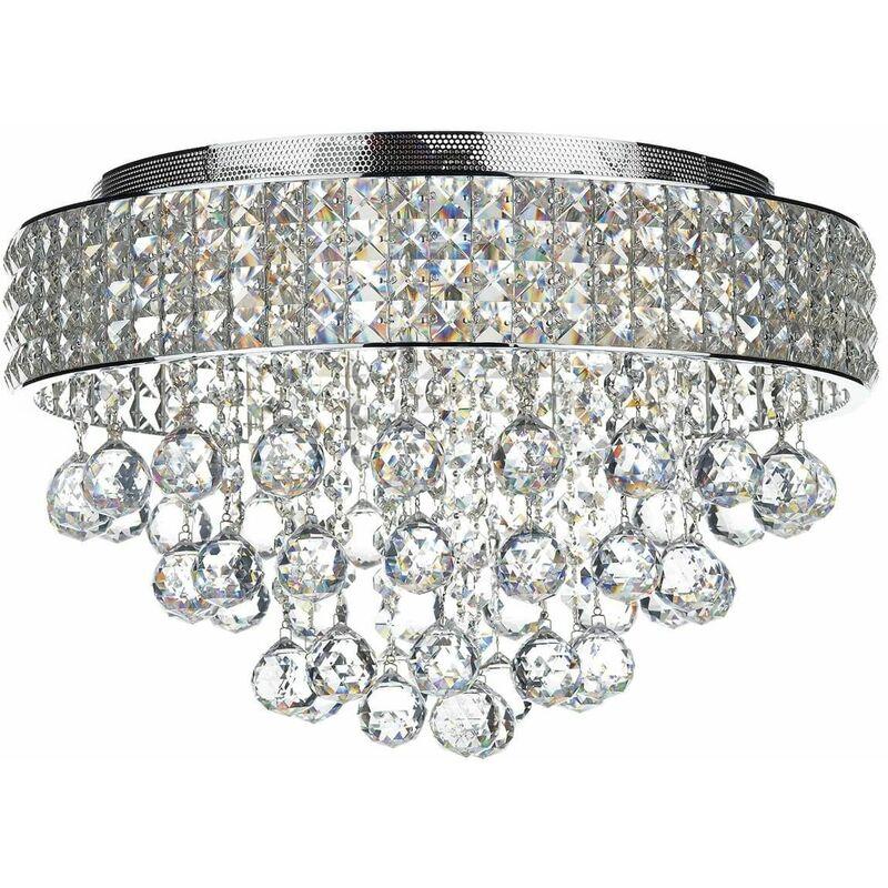 Image of 10-dar Lighting - Ceiling light Matrix crystal and polished chrome 5 bulbs