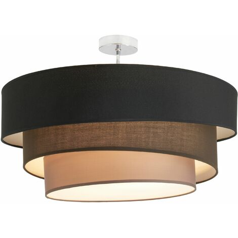Ceiling Light 'Melia' dimmable (modern) in Black made of Textile (3 light sources, E27, A++) from Lindby | ceiling lamp, lamp