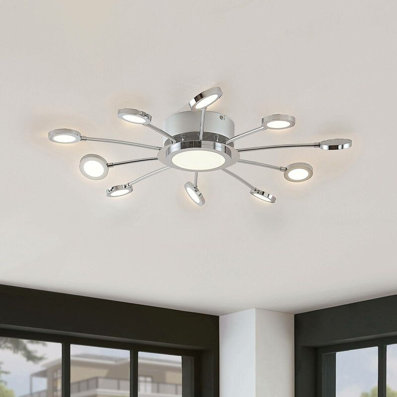 Ceiling Light Meru Dimmable With Remote Control Modern In Silver Made Of Metal 11 Sources A From Lampenwelt