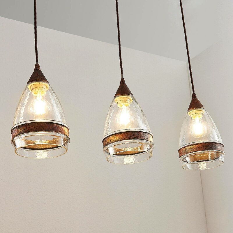 Image of Ceiling Light 'Millina' dimmable (antique, vintage) in Brown made of Glass for e.g. Kitchen (3 light sources, E27, A++) from Lindby   pendant