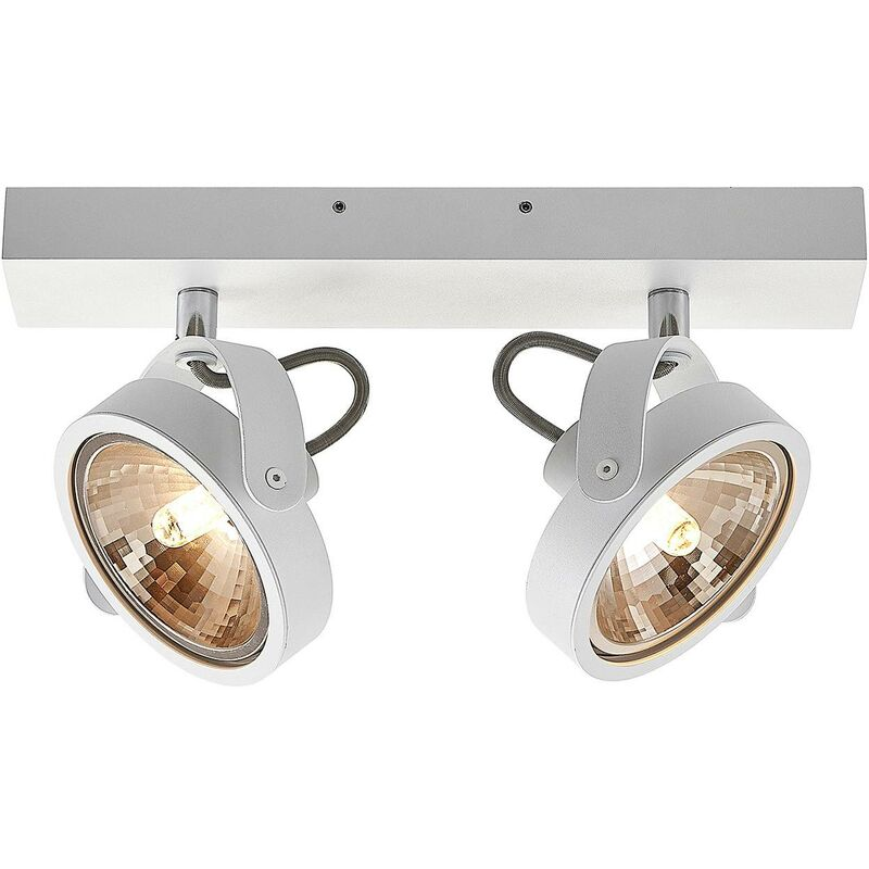 Image of Ceiling Light 'Mitella' dimmable (modern) in White made of Aluminium (2 light sources, G9, A++) from ELC | ceiling lamp, lamp