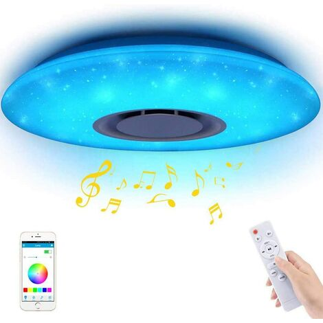 """main image of """"Ceiling Light Music Bluetooth Music Light Remote Ceiling Light Dimmable LED Circular Change Color App 185-265V Remote Control (RGBW, 60W)"""""""