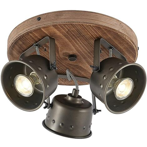 """main image of """"Ceiling Light 'Rubinjo' dimmable (vintage, antique) in Black made of Metal (3 light sources, GU10) from Lindby   floodlight, spotlight"""""""